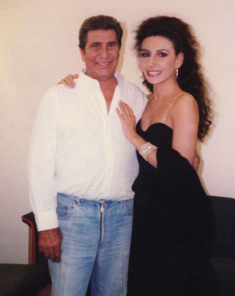 LUCIA ALIBERTI col leggendario cantante,attore e compositore francese GILBERT BECAUD durante un TV-Show