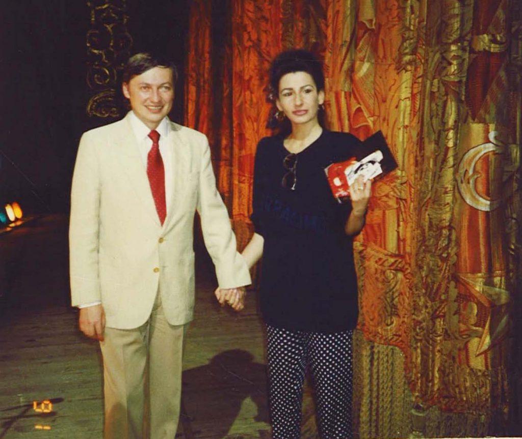 LLUCIA ALIBERTI col campione mondiale di scacchi ANATOLY KARPOV al Teatro Bolshoi,in Mosca