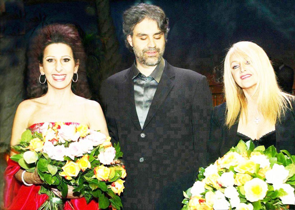 LUCIA ALIBERTI con ANDREA BOCELLI e la famosa rock star BONNIE TYLER durante un TV-Show