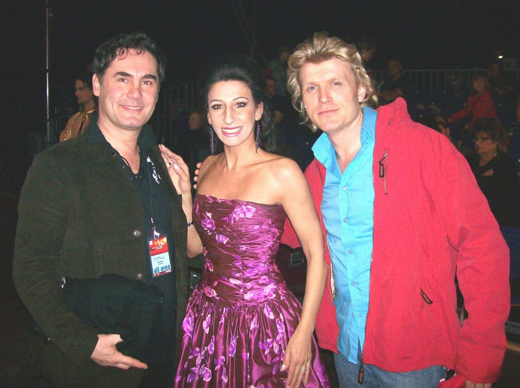 LUCIA ALIBERTI col Make-Up Artist MARCO MANNOZZI e il mago illusionista attore HANS KLOK durante un TV-Show